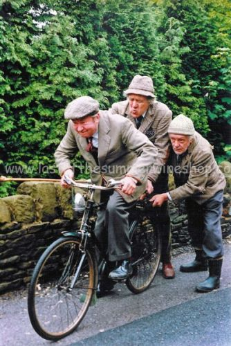 Clegg on bike with Seymour & Compo pushing!
