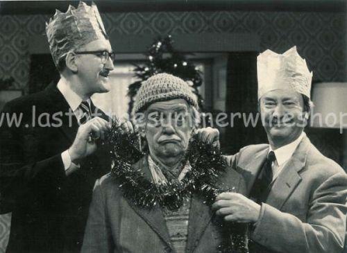 Compo, Clegg & Foggy celebrate Christmas (B & W)