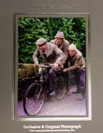 Clegg on Bike with Seymour & Compo Pushing Bike Photo